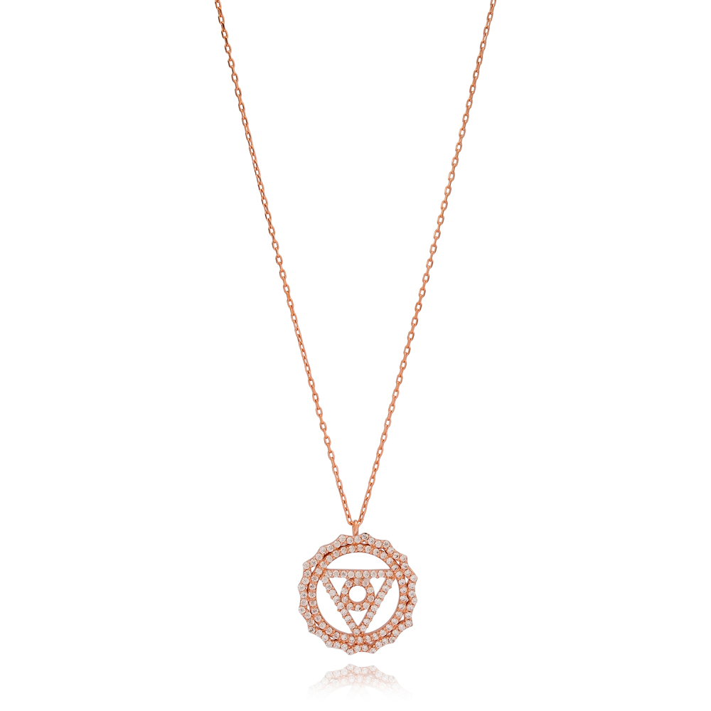 Triangle and Circle Shape Pendant Turkish Wholesale Handmade 925 Sterling Silver Jewelry