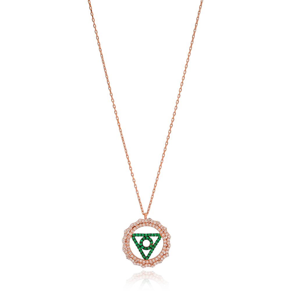 Emerald Stone Triangle and Circle Shape Pendant Turkish Wholesale Handmade 925 Sterling Silver Jewelry