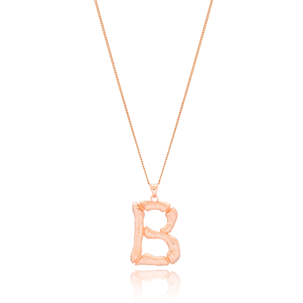 Alphabet B Letter Design Pendant Turkish Wholesale Handmade 925 Sterling Silver Jewelry