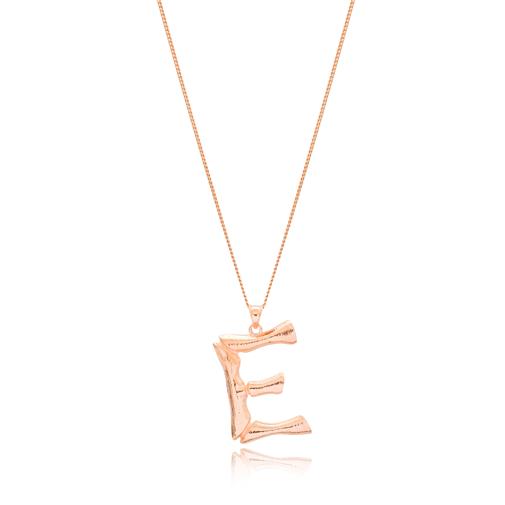 Alphabet E Letter Design Pendant Turkish Wholesale Handmade 925 Sterling Silver Jewelry
