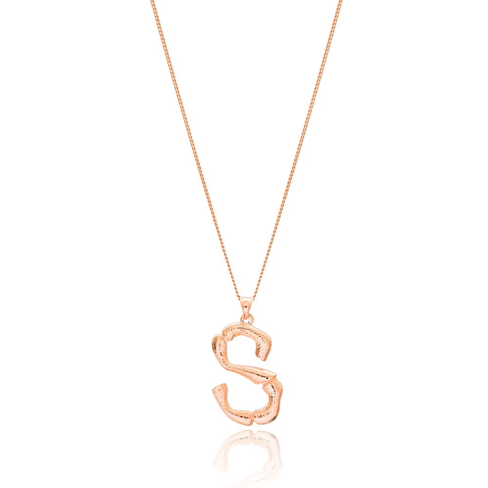 Alphabet S Letter Design Pendant Turkish Wholesale Handmade 925 Sterling Silver Jewelry