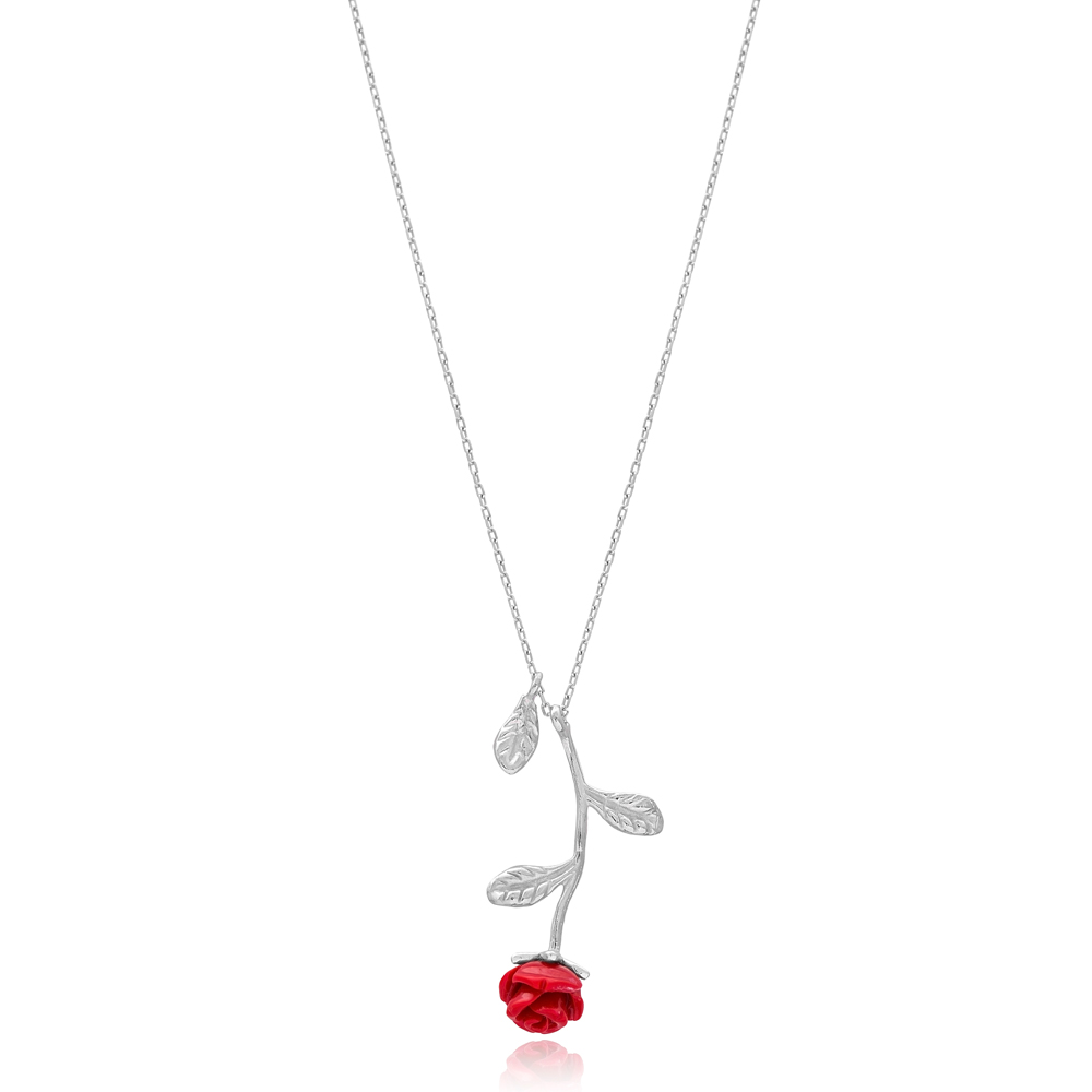 Rose Design Necklace 925 Sterling Silver Handmade Jewelry