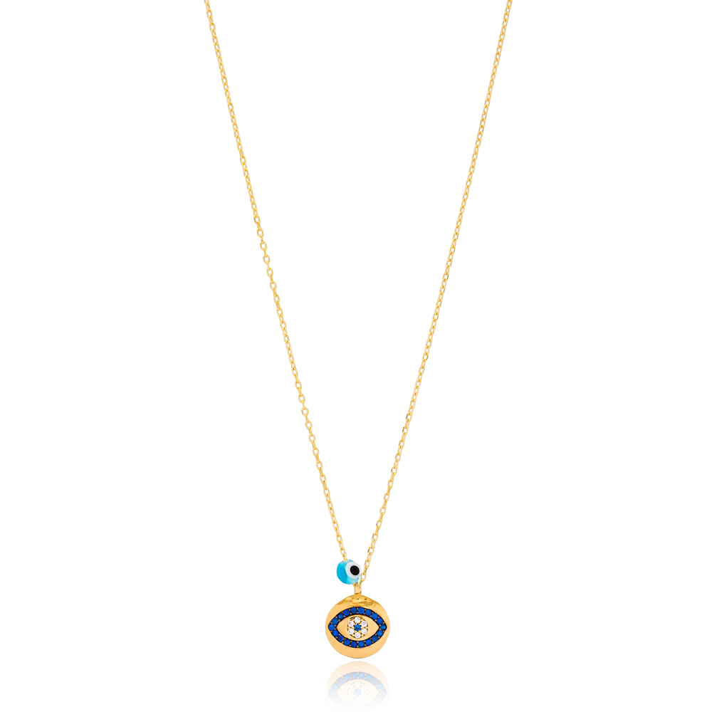 Sapphire Stone Evil Eye Charm Pendant Wholesale Handmade Turkish 925 Silver Sterling Jewelry