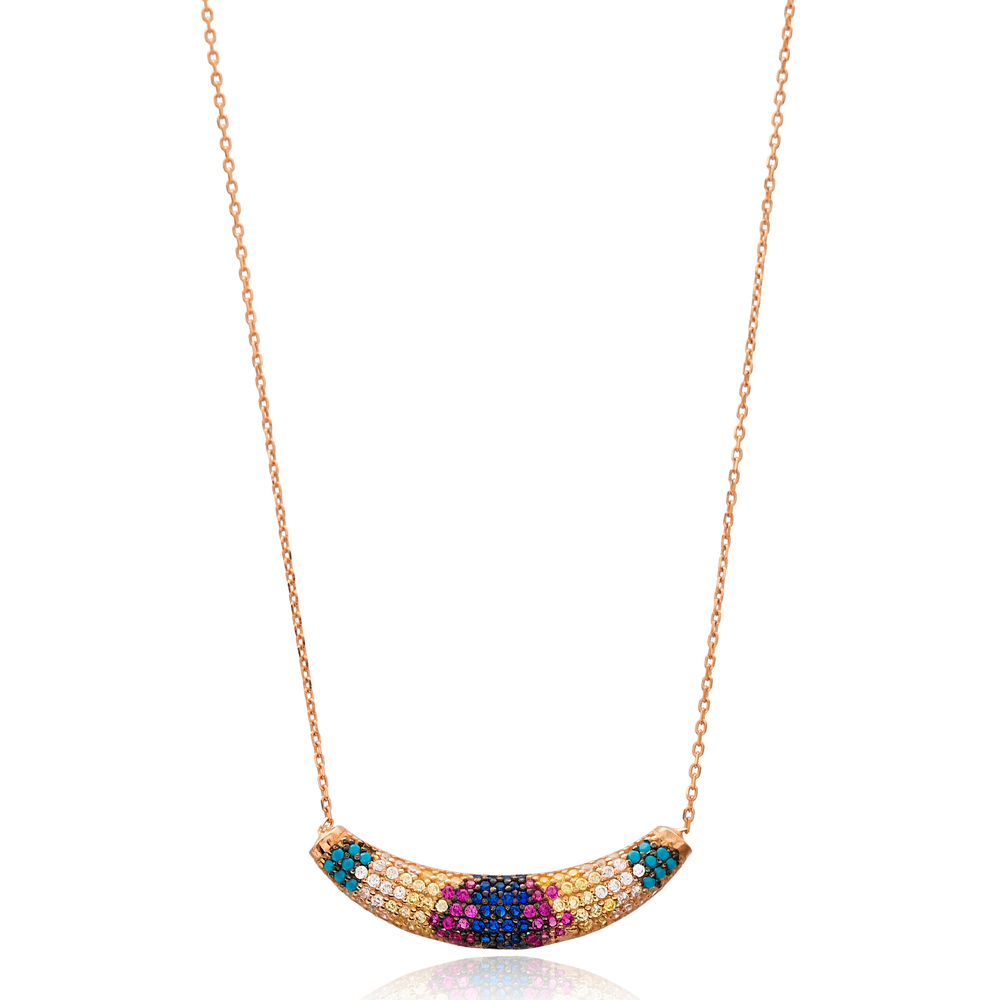 Rainbow Stone Necklace Wholesale Handcraft 925 Sterling Silver Jewelry