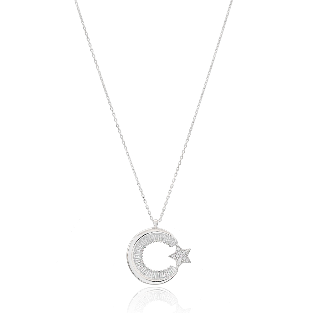 Crescent Moon And Star Design Wholesale Handcrafted 925 Silver Sterling Pendant