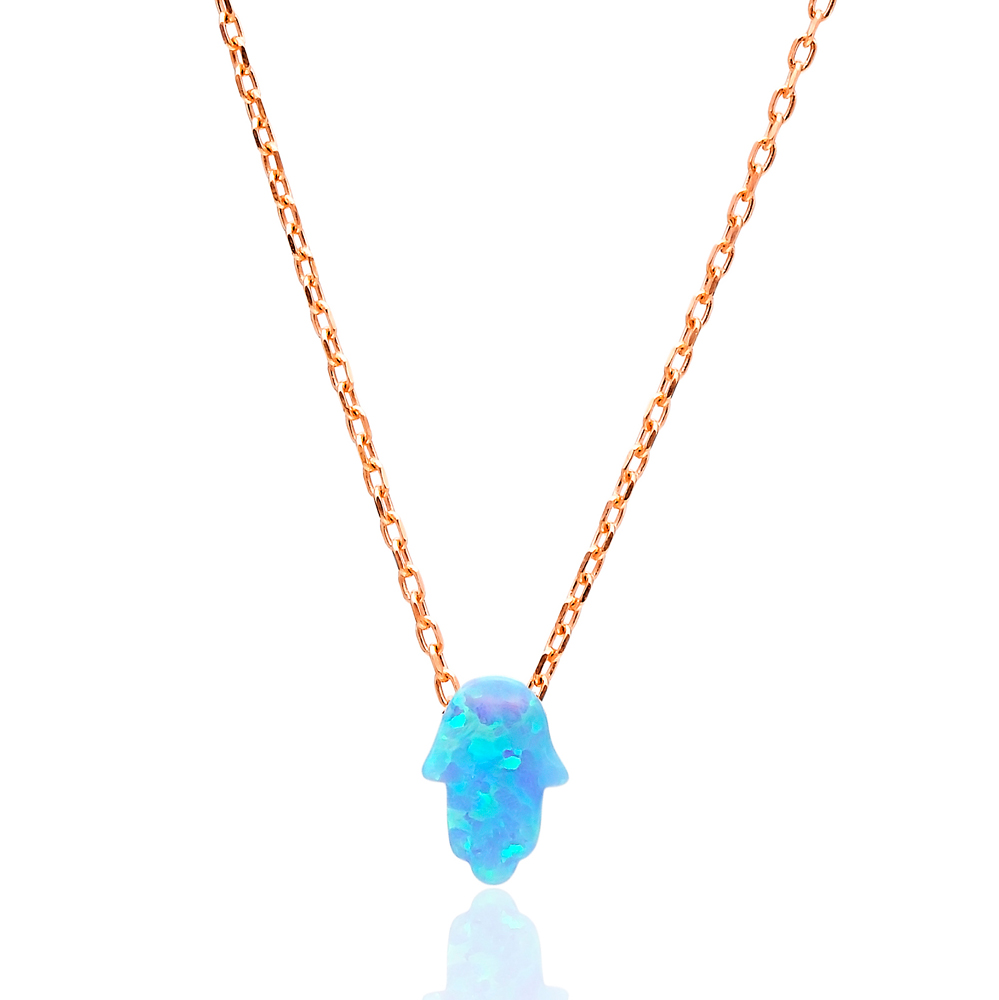 Opal Mini Hamsa Pendant In Turkish Wholesale 925 Sterling Silver