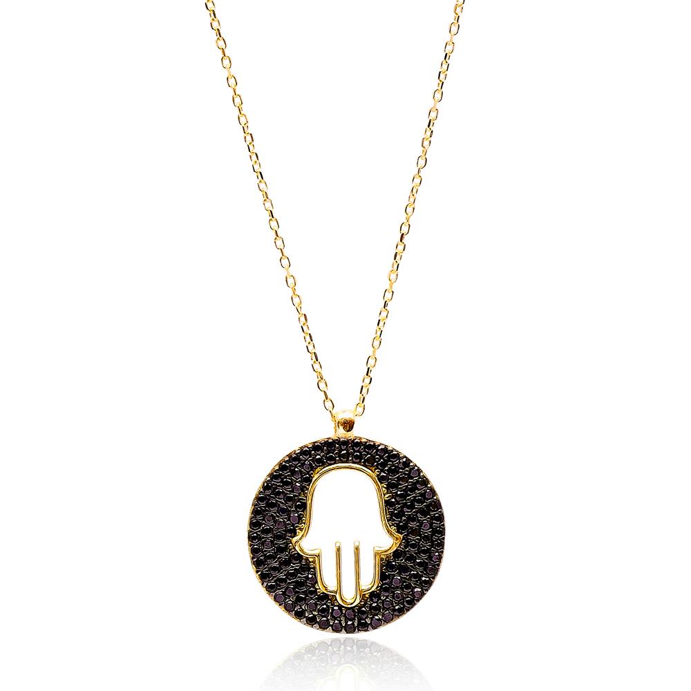 Hamsa Design Black Zircon Pendant Turkish Wholesale Sterling Silver Jewelry