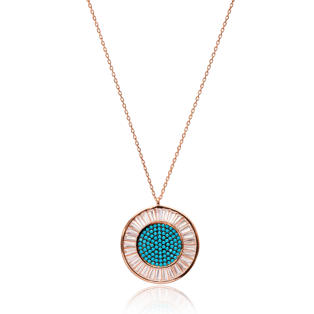 Baguette Stone Round Shape Pendant handmade in Turkish Wholesale 925 Sterling Silver