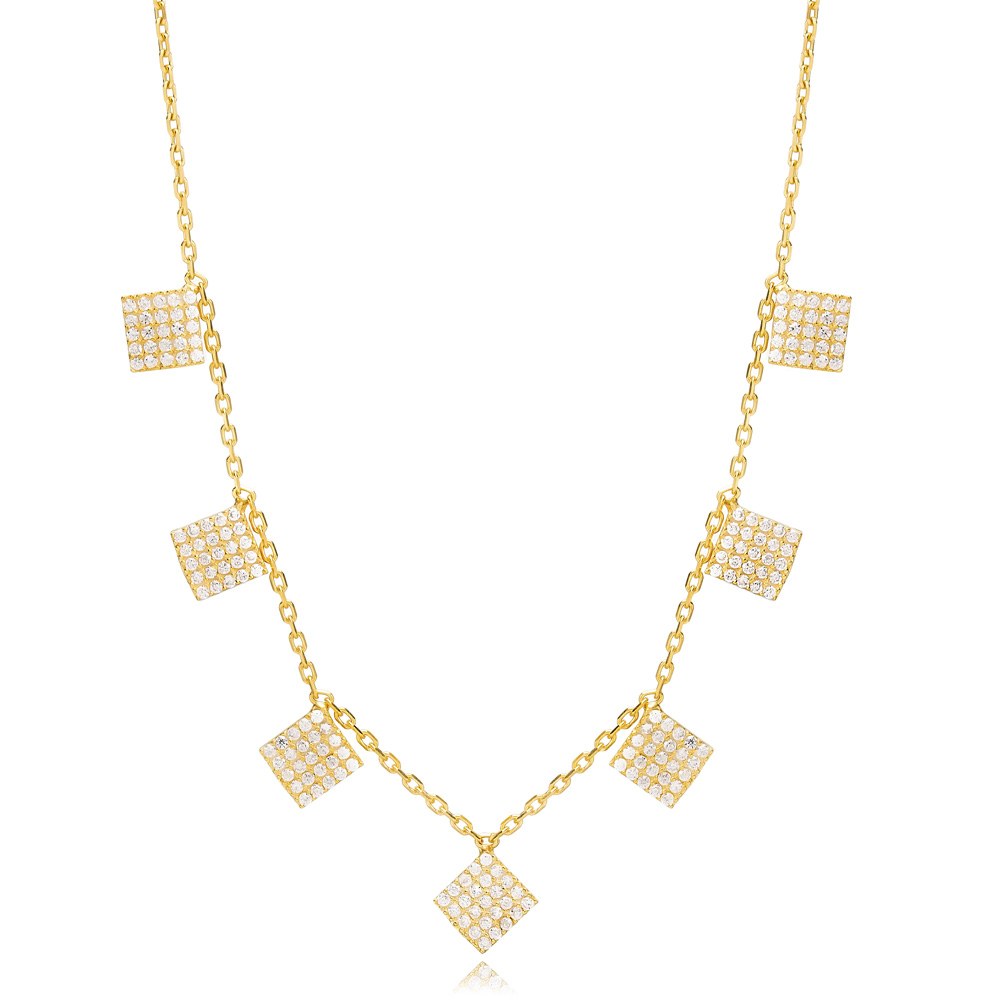 Square Geometric Shape Shaker Necklace Turkish Handmade 925 Sterling Silver Jewelry