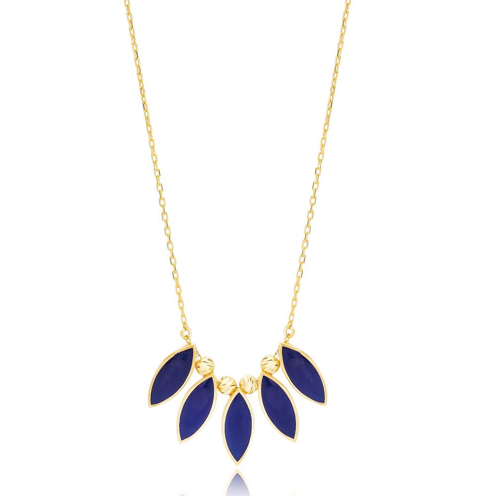 Almond Shape Dark Blue Enamel Necklace Turkish Handmade 925 Sterling Silver Jewelry