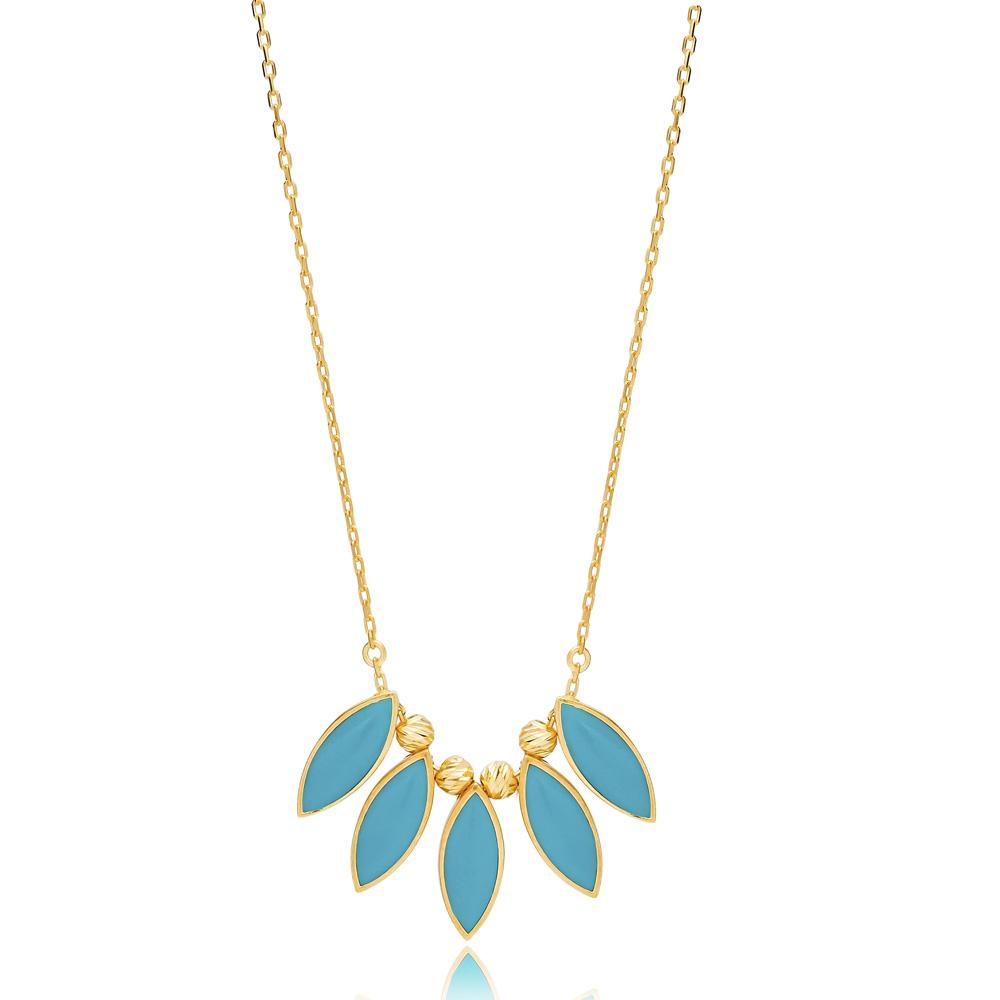 Almond Shape Enamel  Turquoise Necklace Turkish Handmade 925 Sterling Silver Jewelry