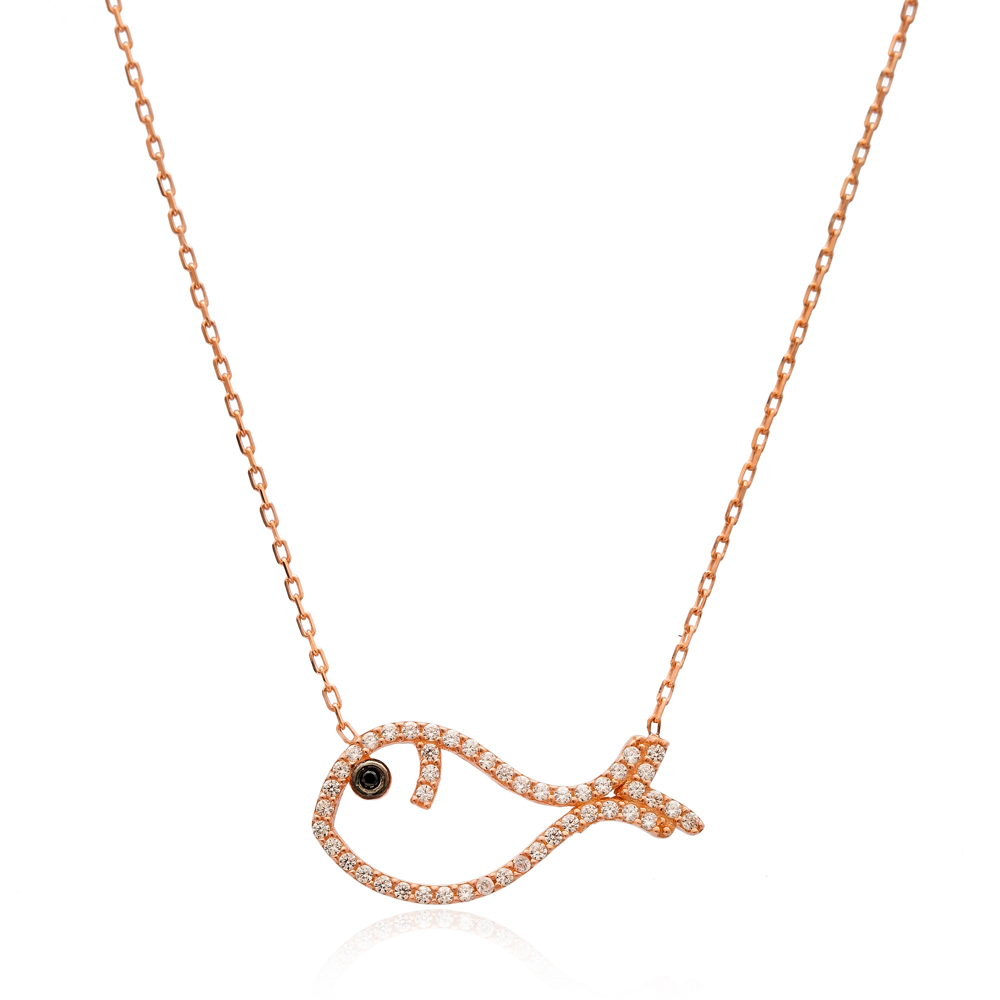 Minimalist Fish Design Pendant Turkish Wholesale Sterling Silver Jewelry Pendant