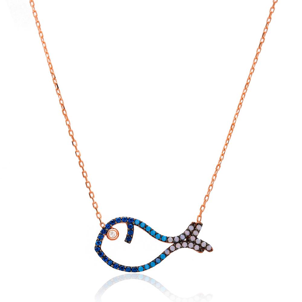 Minimalist Fish Gradient Zircon Design Pendant Turkish Wholesale Sterling Silver Jewelry Pendant