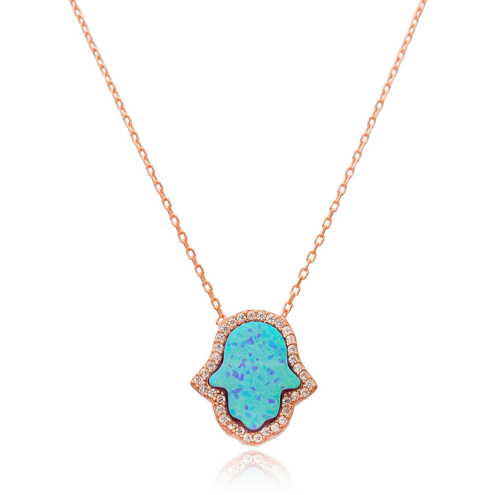 Opal Hamsa Pendant In Turkish Wholesale 925 Sterling Silver Pendant