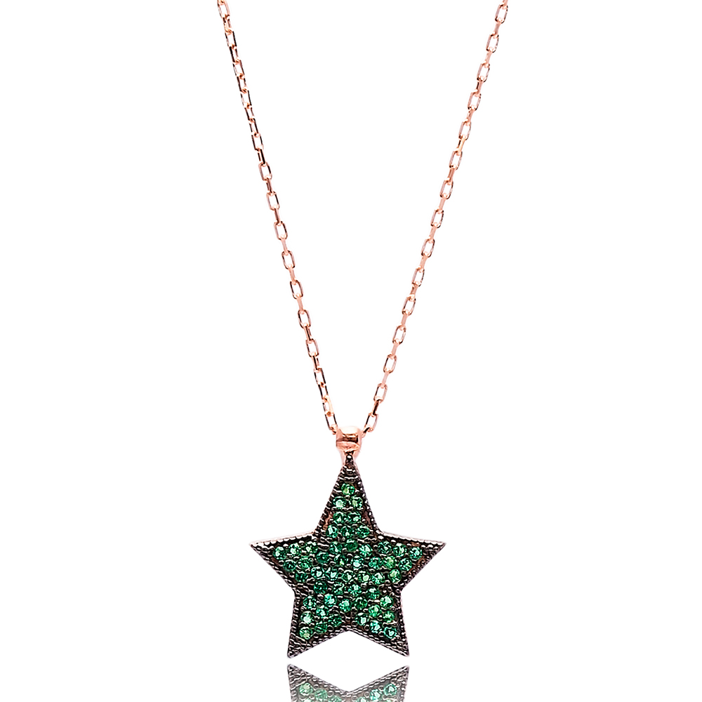 Emerald Stone Star Charm Pendant Turkish Wholesale Handcrafted 925 Silver Sterling Jewelry