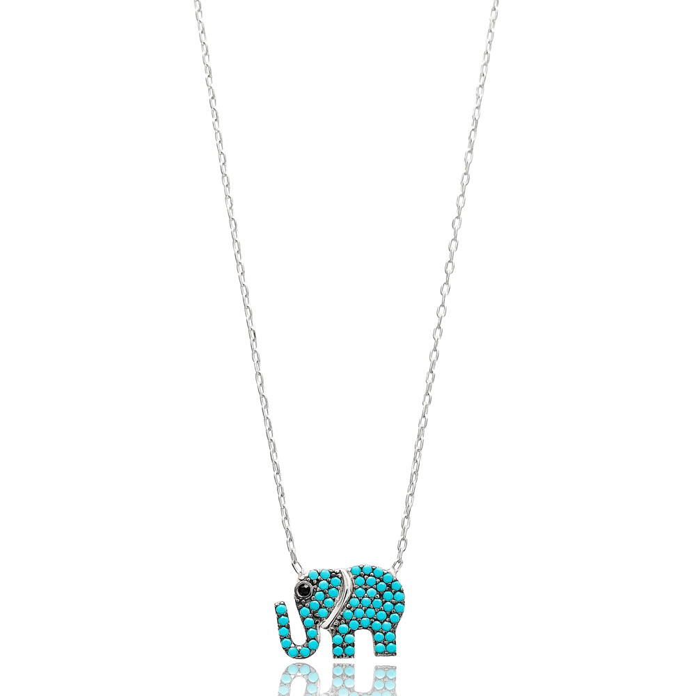 Nano Turquoise Elephant Pendant Turkish Wholesale Sterling Silver Jewelry