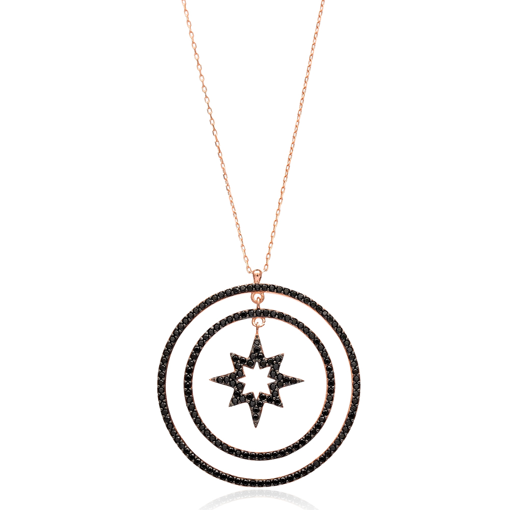 Pole Star With Open Circle Pendant In Turkish Wholesale 925 Sterling Silver