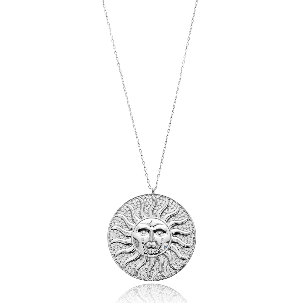 Sun Face Pendant In Turkish Wholesale 925 Sterling Silver
