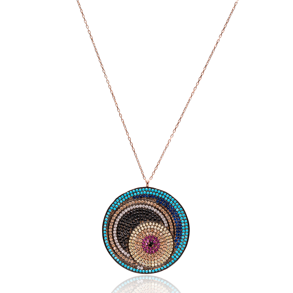 Round Mix Stone Turkish Wholesale Silver Pendant