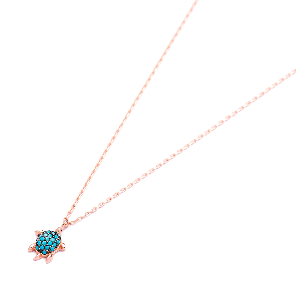 Nano Turquoise Turkish Wholesale Handcrafted 925 Sterling Silver Jewelry Turtle Design Pendant