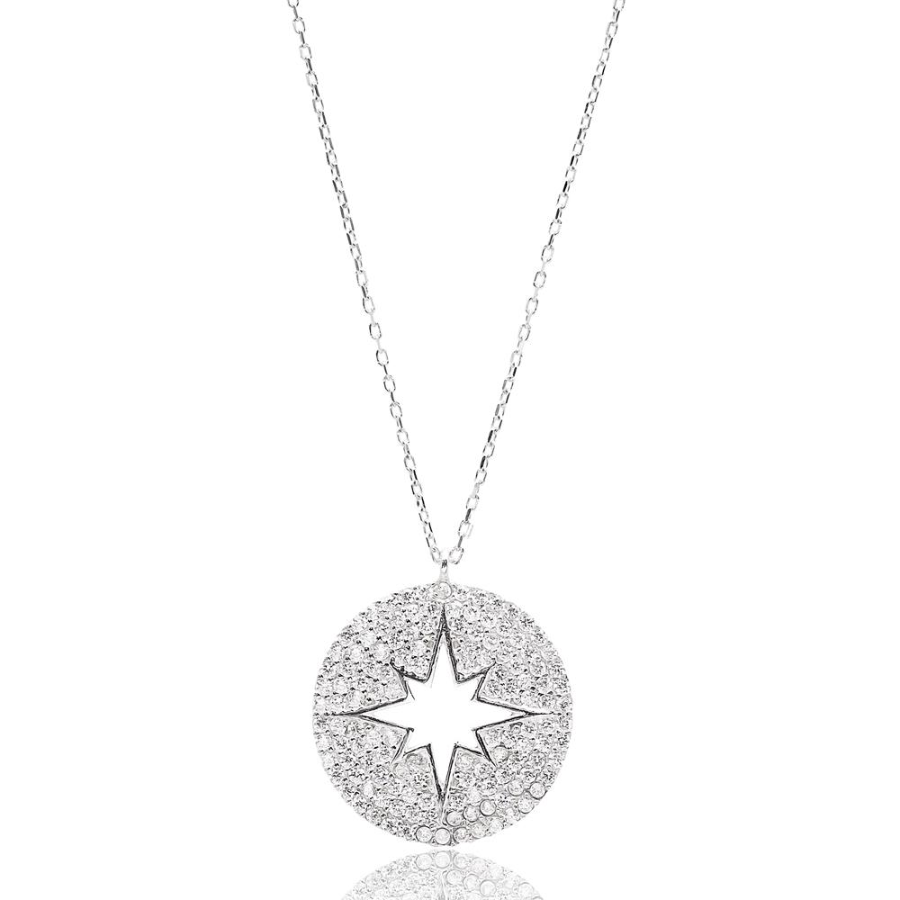 Round Turkish Wholesale Handmade 925 Sterling Silver Jewelry North Star Design Pendant