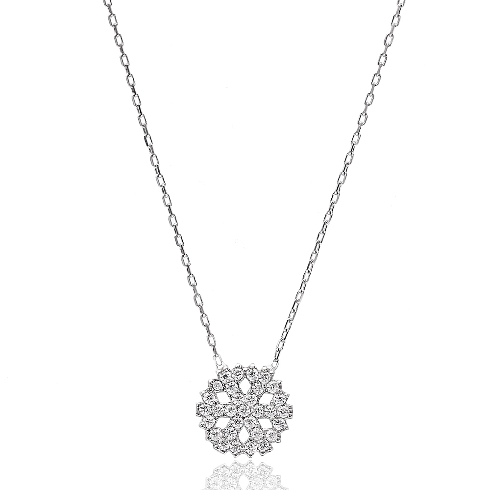 Turkish Wholesale Snowflake Handcrafted  925 Sterling Silver Pendant