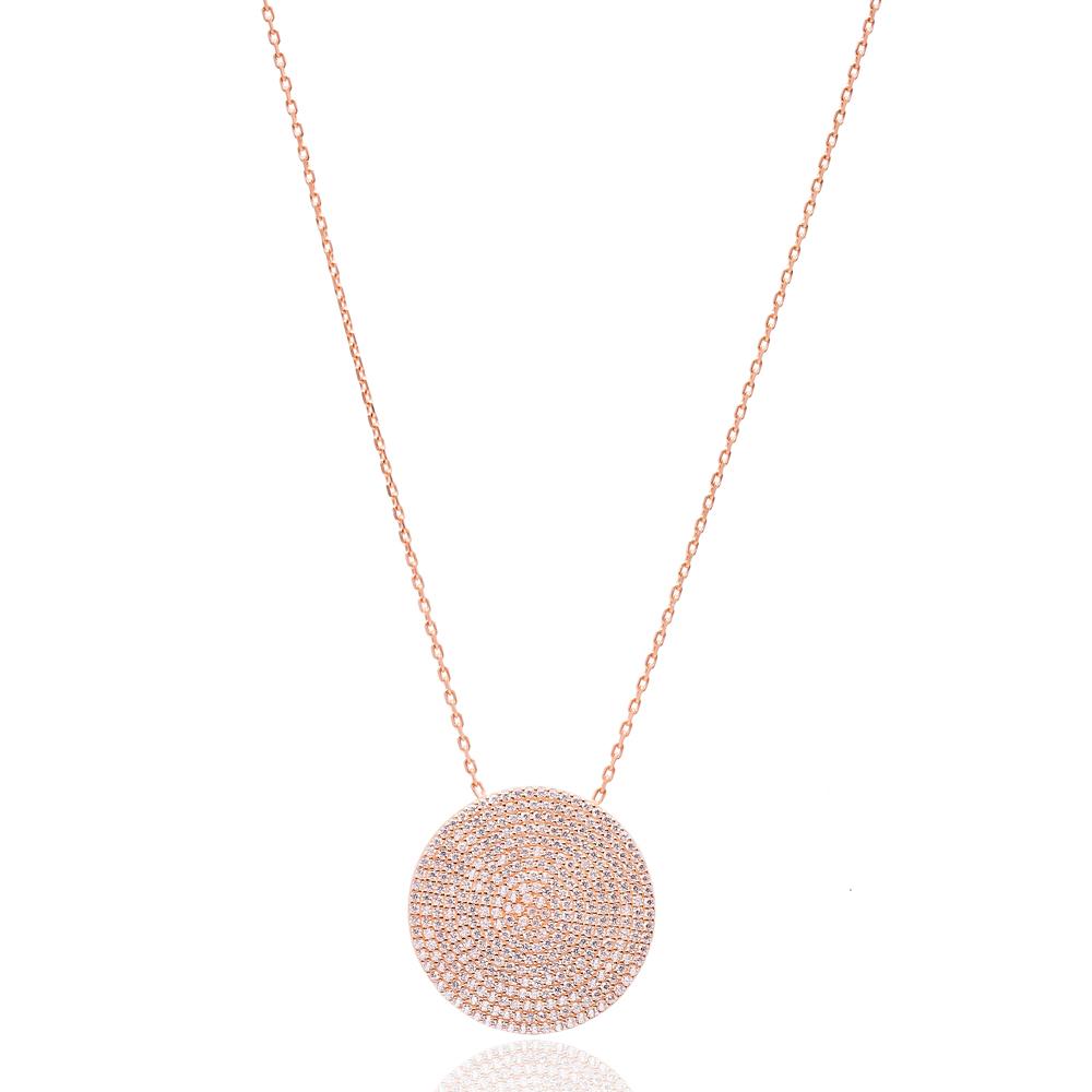 Round Turkish Wholesale Sterling Silver Zircon Pendant