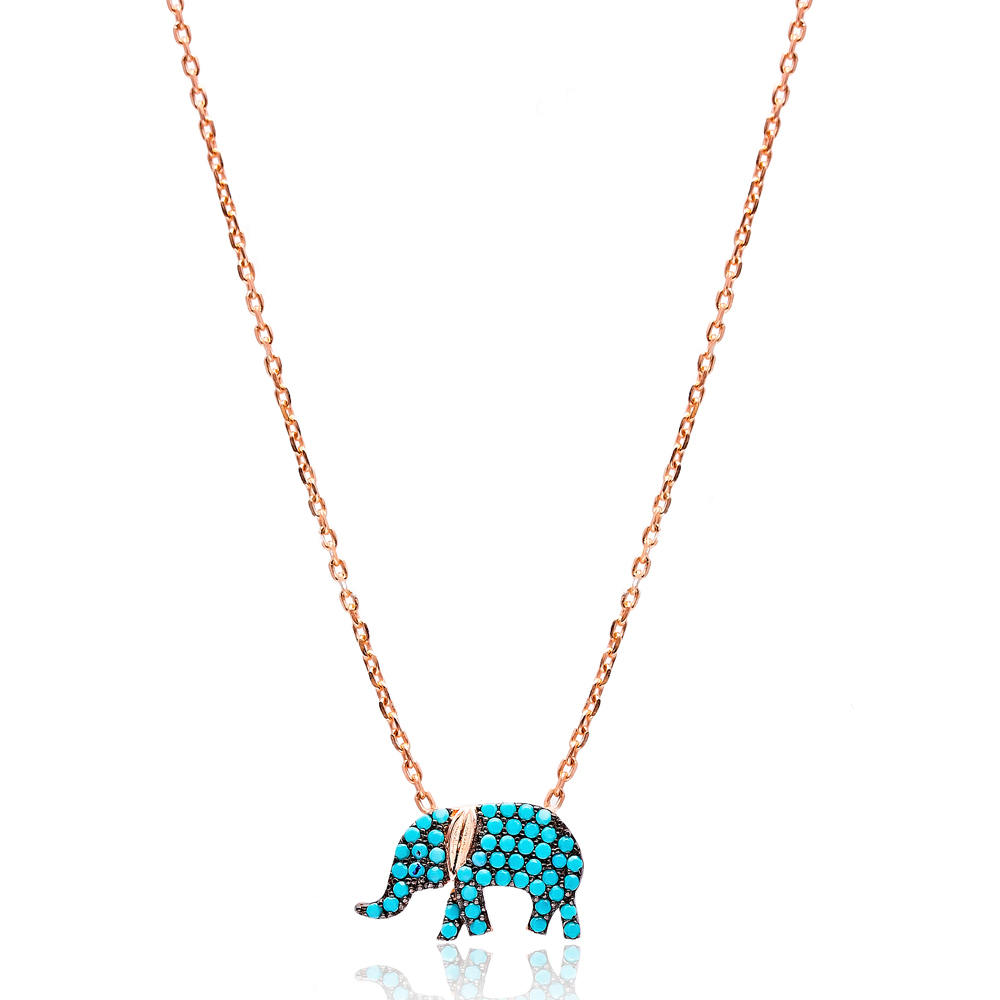 Nano Turquoise Elephant Turkish Wholesale Silver Pendant