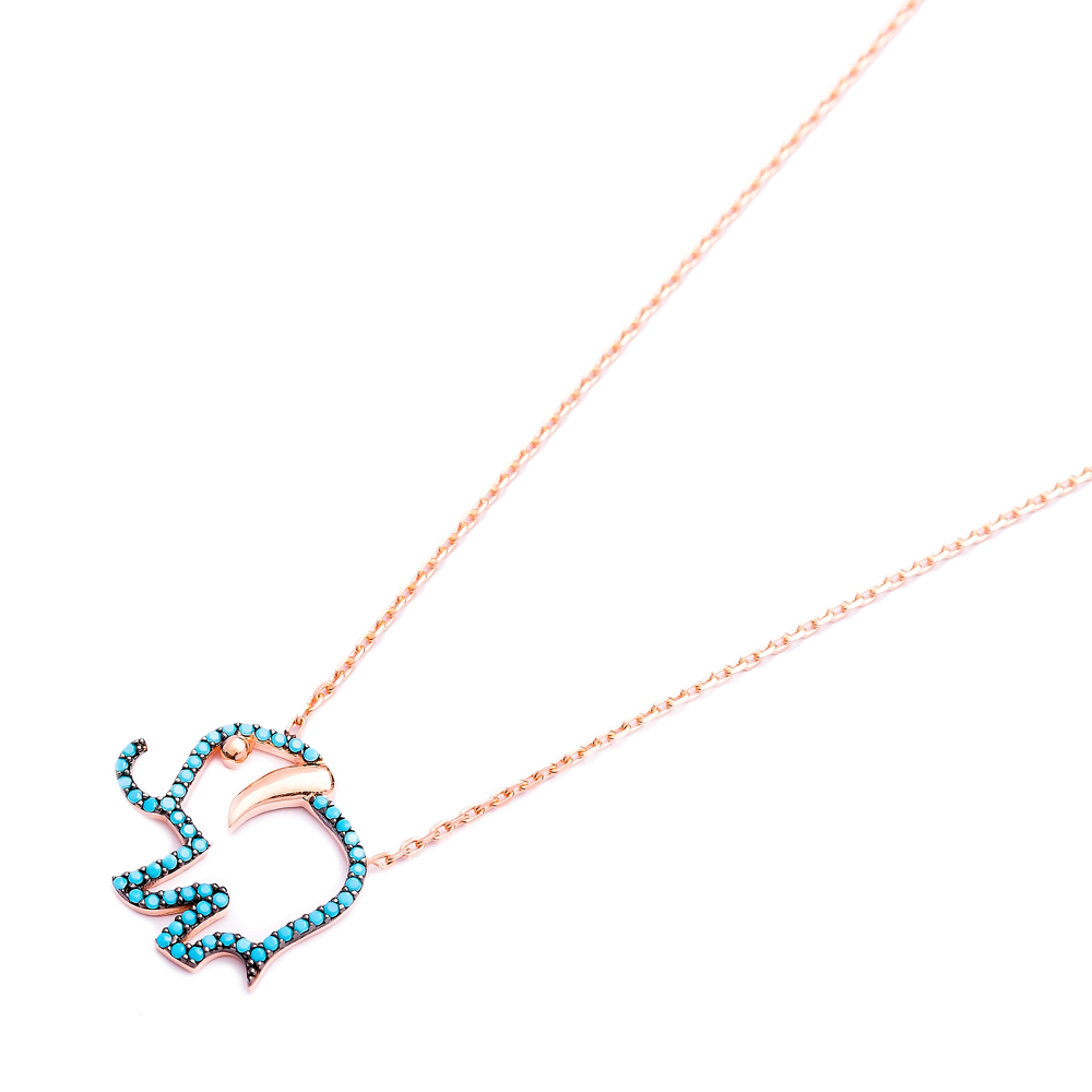 Elephant Nano Turquoise Pendant In Turkish Wholesale Silver Pendant