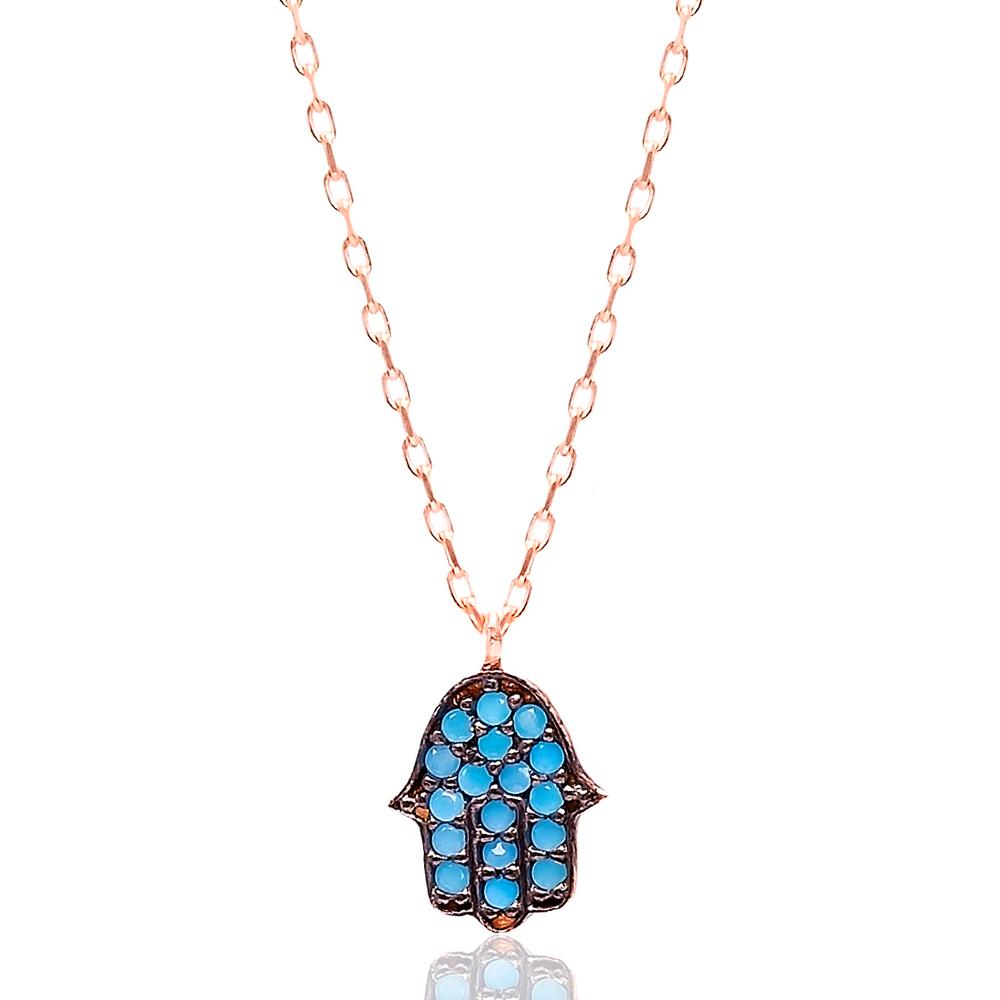 Minimal Hamsa Turquoise Stone Turkish Wholesale Silver Pendant