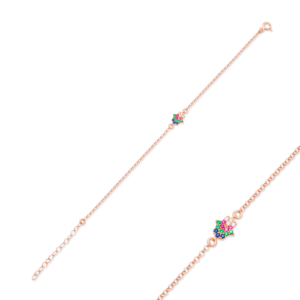 Colorful Minimalist Hamsa Design Bracelet Turkish Wholesale Handcraft 925 Sterling Silver Jewelry