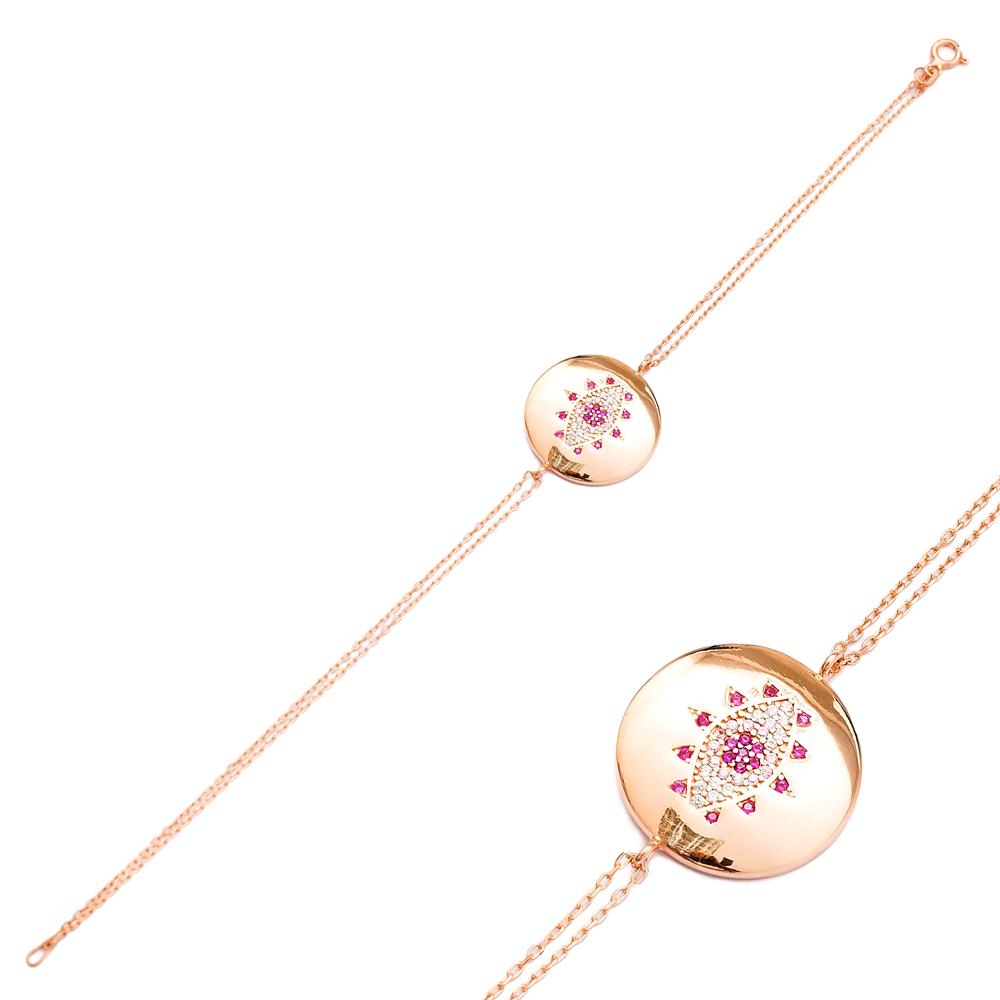 Round Shape Eye Design Bracelet Wholesale 925 Sterling Silver Jewelry
