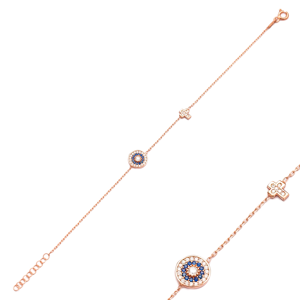 Evil Eye and Cross Design Bracelet Wholesale 925 Sterling Silver Jewelry