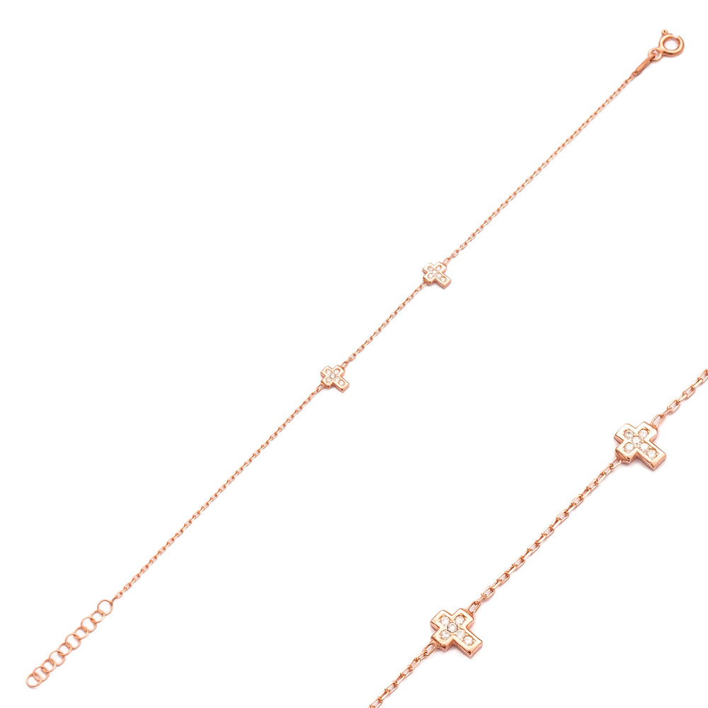 Double Cross Design Bracelet Wholesale 925 Sterling Silver Jewelry