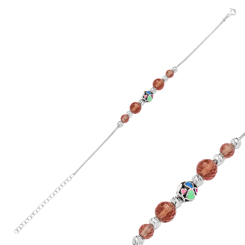 Colorful Heart Enamel Charm Zultanite Stone Wholesale 925 Sterling Silver Bracelet