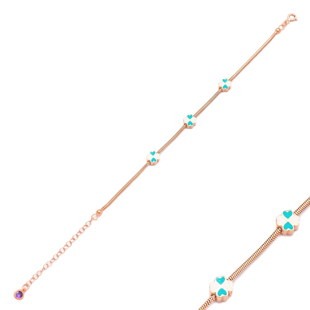 Enamel Flower Design Charm Bracelet Wholesale 925 Sterling Silver Jewelry