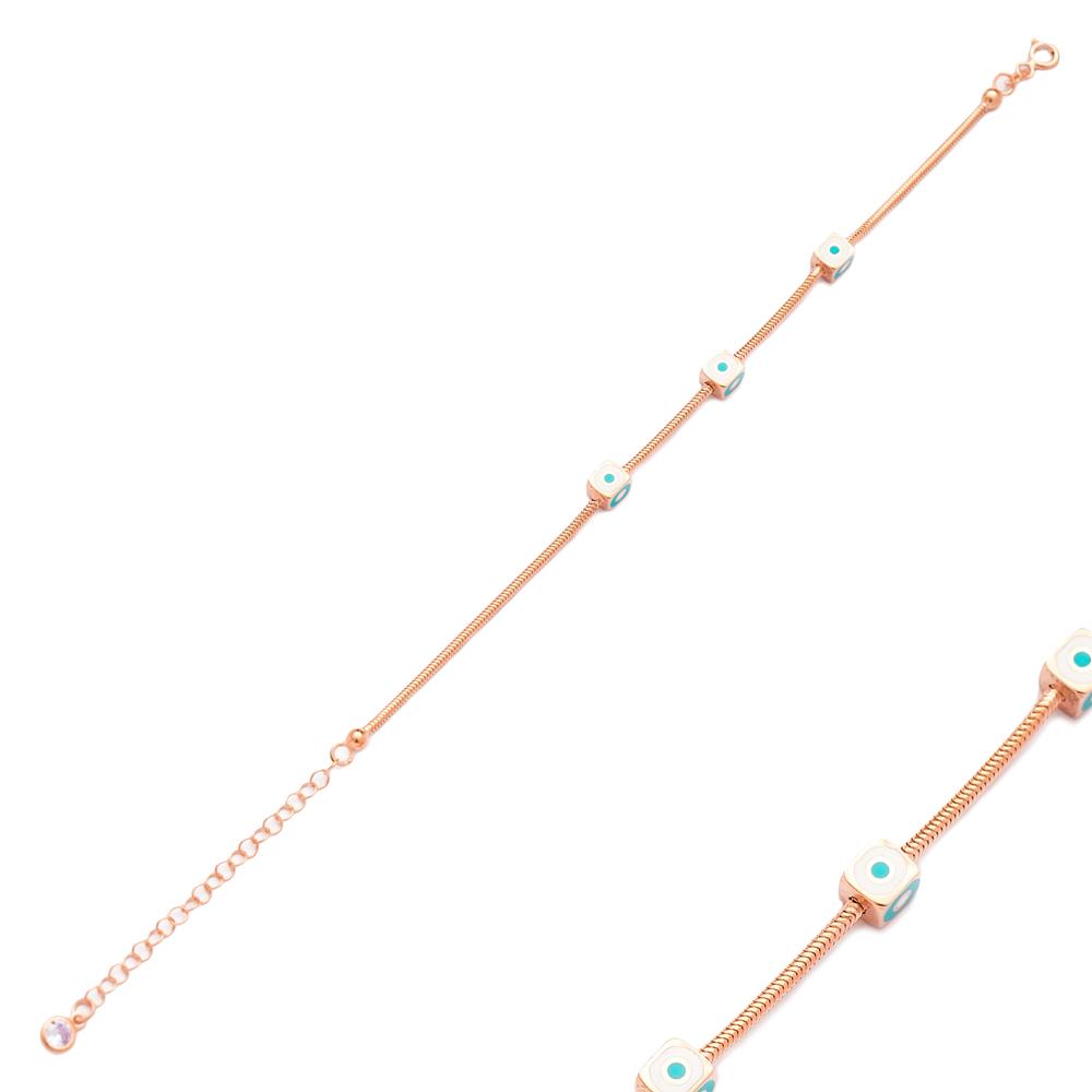 Enamel Cube Design Charm Bracelet Wholesale 925 Sterling Silver Jewelry