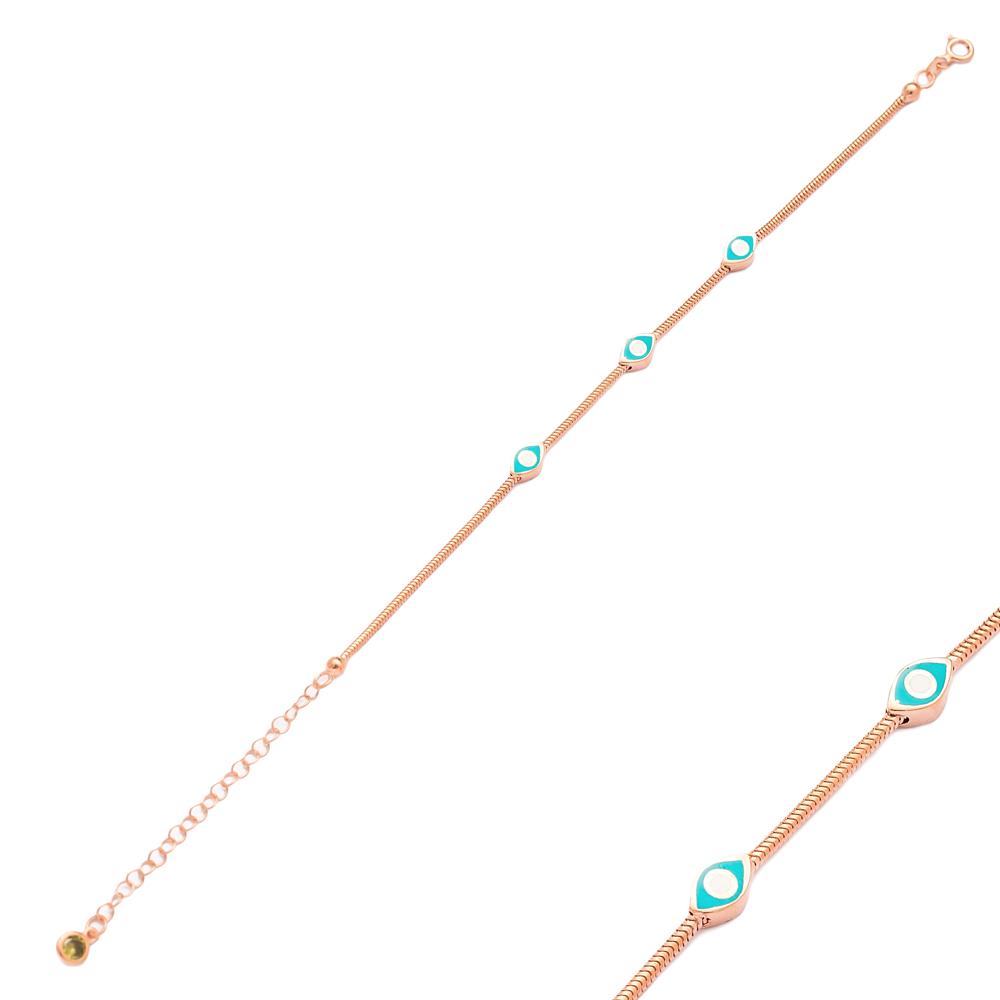 Enamel Eye Design Charm Bracelet Wholesale 925 Sterling Silver Jewelry