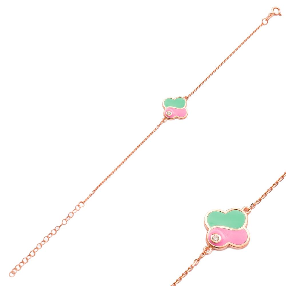 Green and Pink Enamel Design Bracelet Wholesale 925 Sterling Silver Jewelry