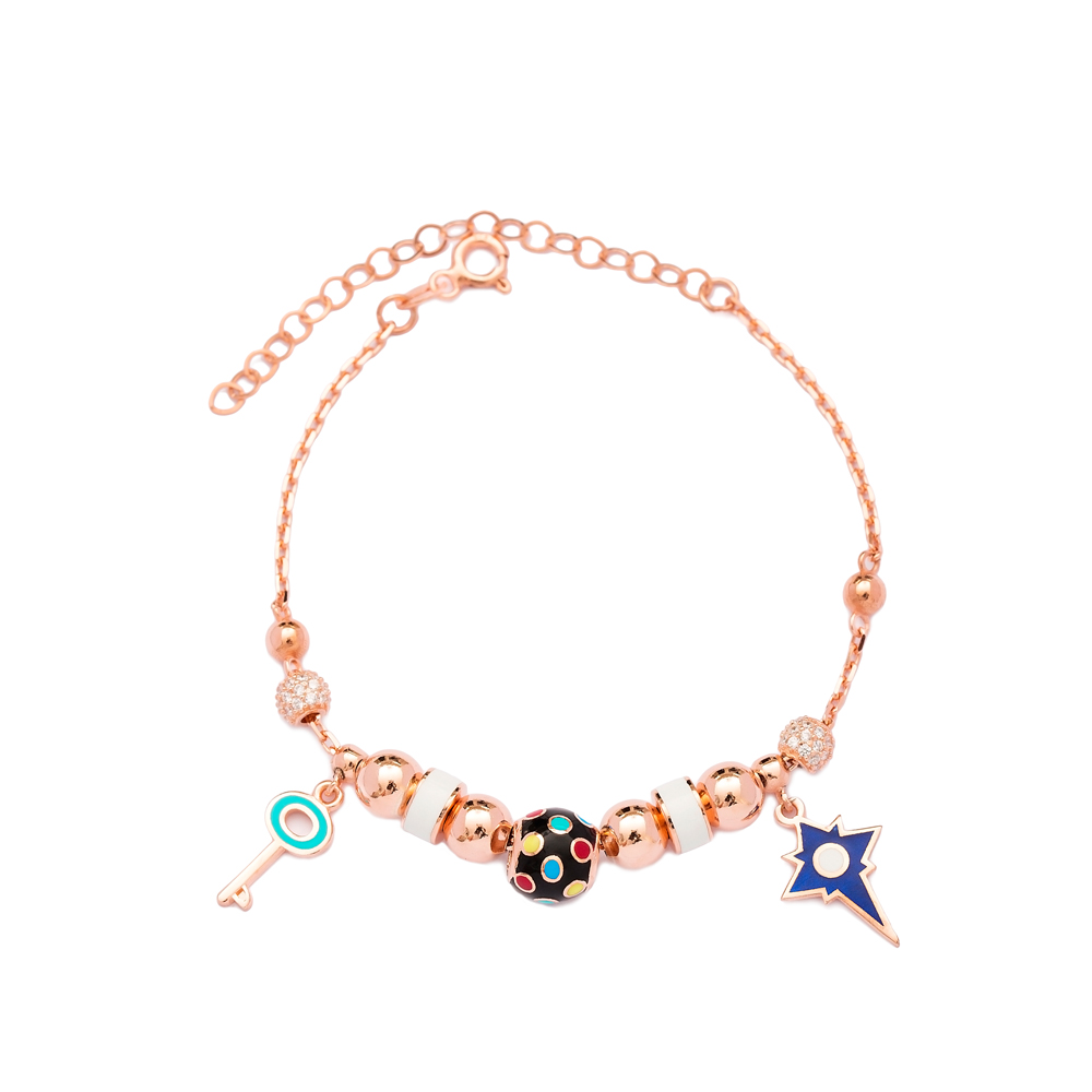 North Star and Key Charm Bracelet Wholesale 925 Sterling Silver Jewelry