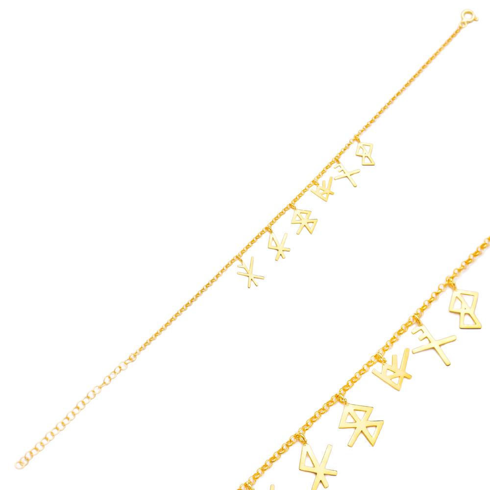 Viking Symbols Design Bracelet Turkish Wholesale 925 Sterling Silver Jewelry