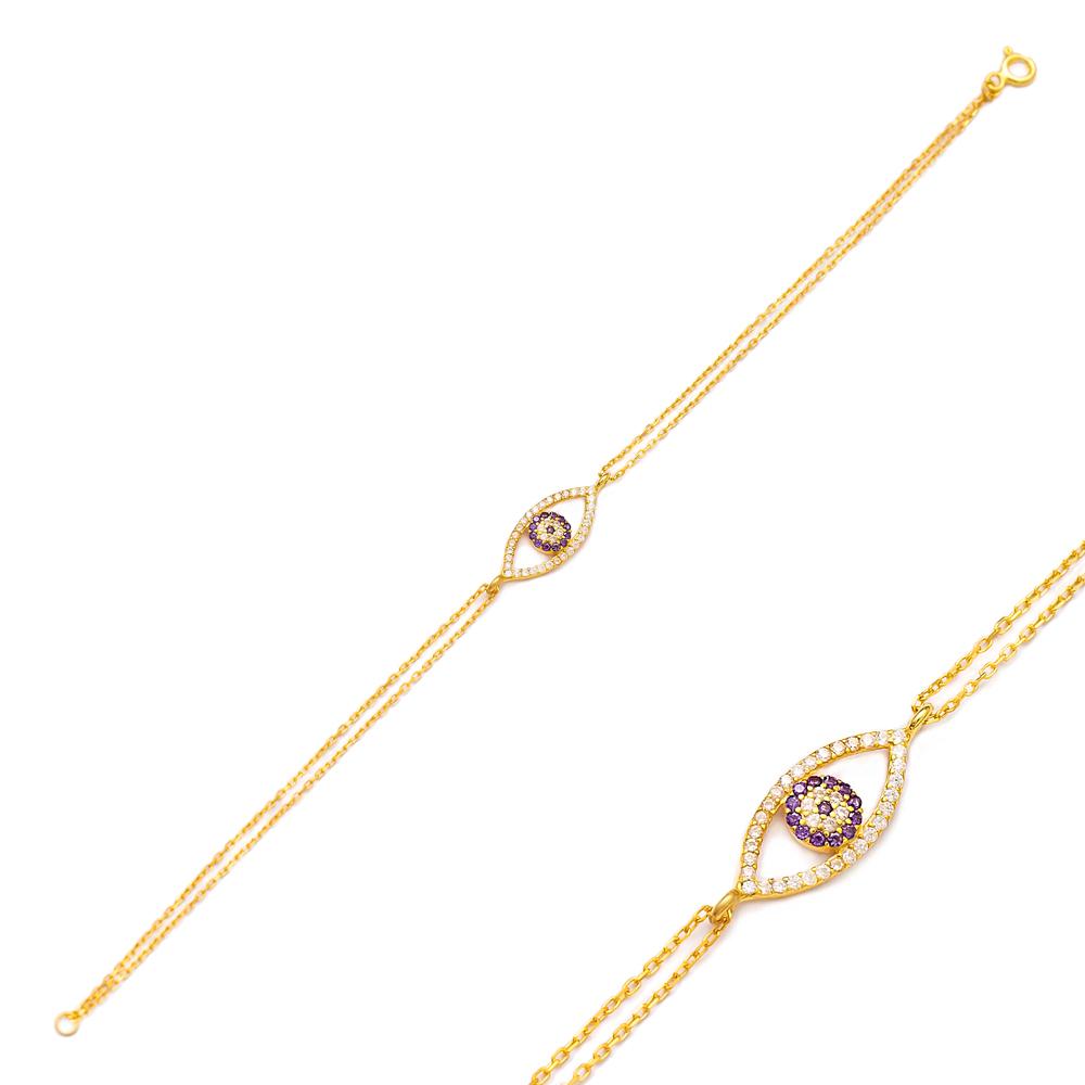 Evil Eye Charm Design Bracelet Turkish Wholesale 925 Sterling Silver Jewelry