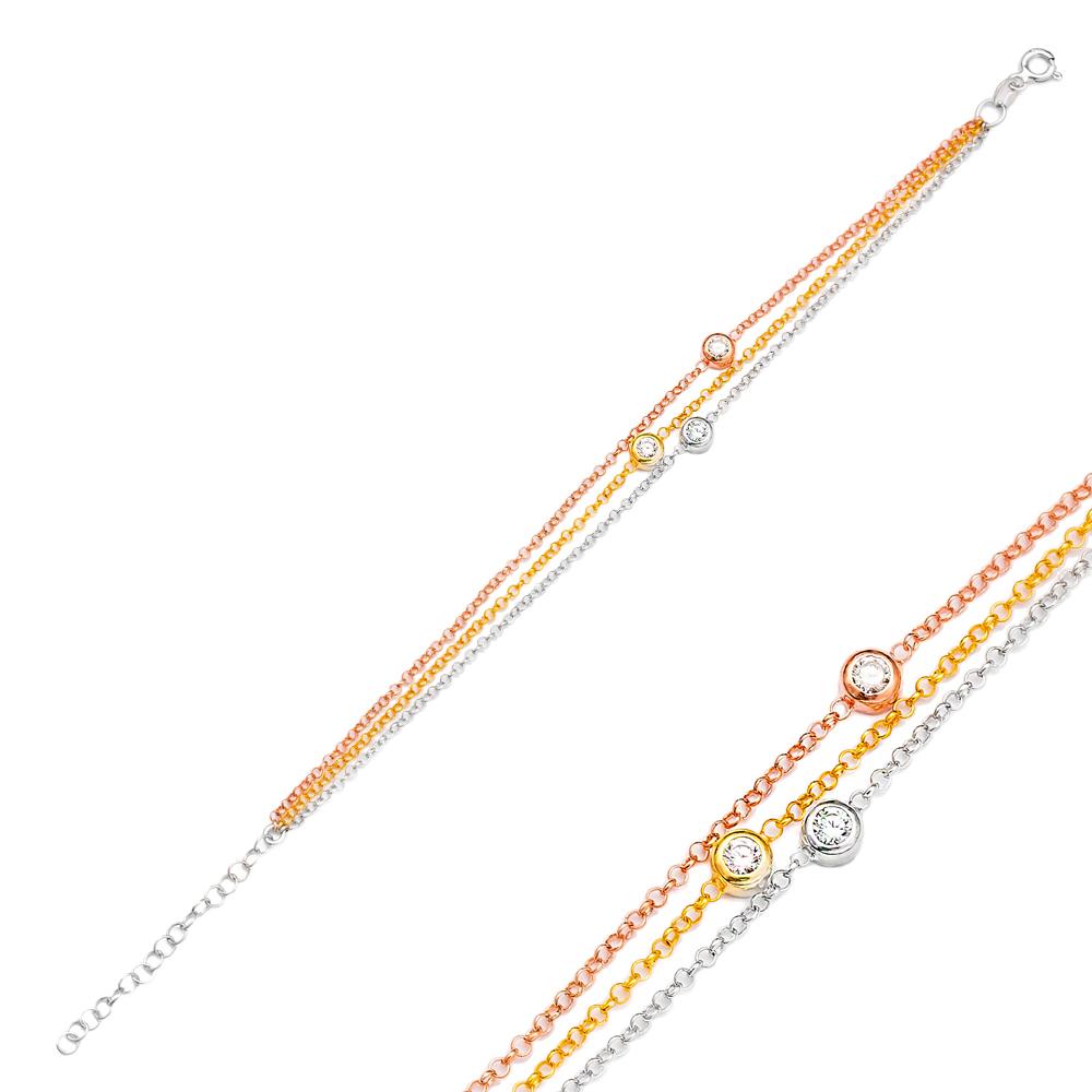 Minimalist Triple Plating Zircon Stone Bracelet Turkish Wholesale Handmade 925 Sterling Silver Jewelry