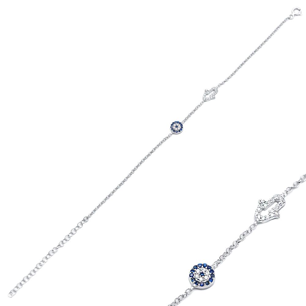 Turkish Evil Eye Hamsa Charm Wholesale Handmade 925 Sterling Silver Bracelet