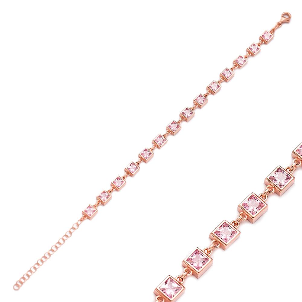 Square Design Charm Pink Zircon Bracelet Wholesale Turkish 925 Sterling Silver Jewelry