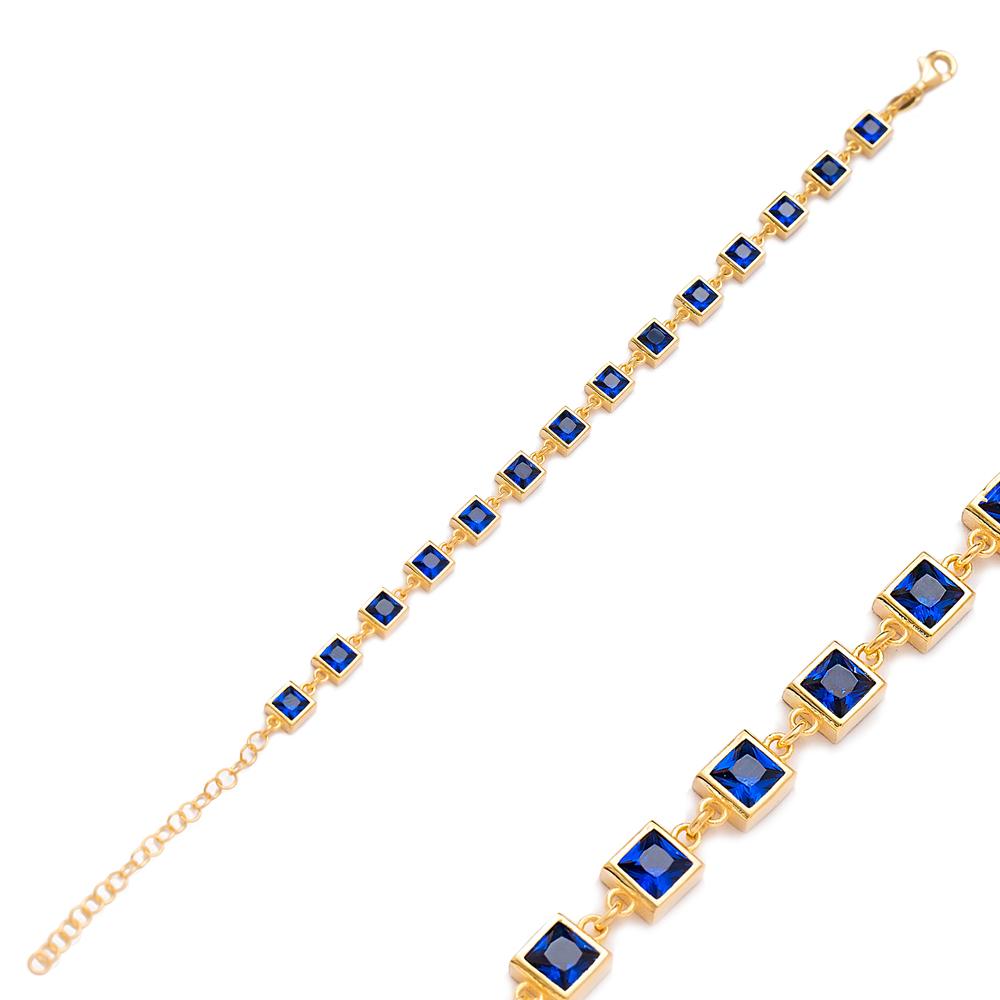 Square Design Charm Sapphire Bracelet Wholesale Turkish 925 Sterling Silver Jewelry