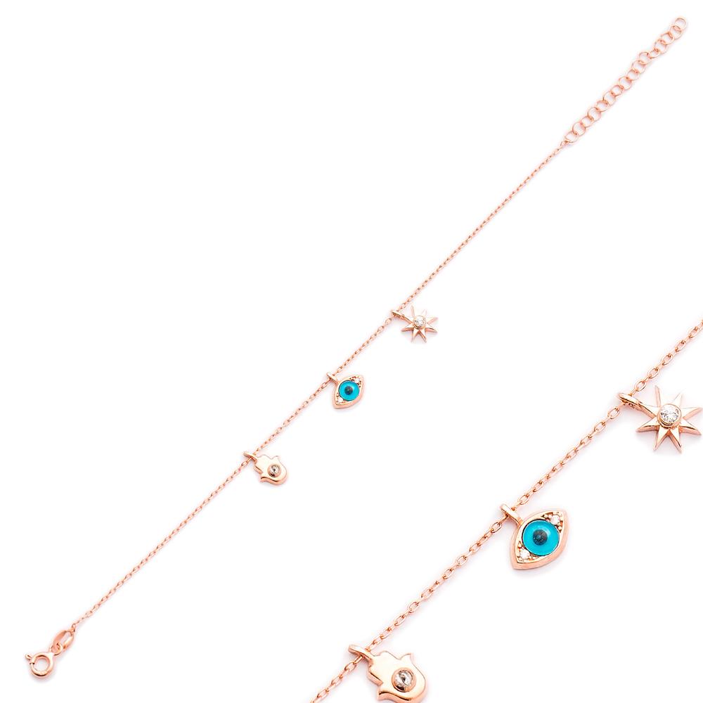 Hamsa Evil Eye Star Shaker Charm Bracelet Wholesale Turkish Sterling Silver Jewelry