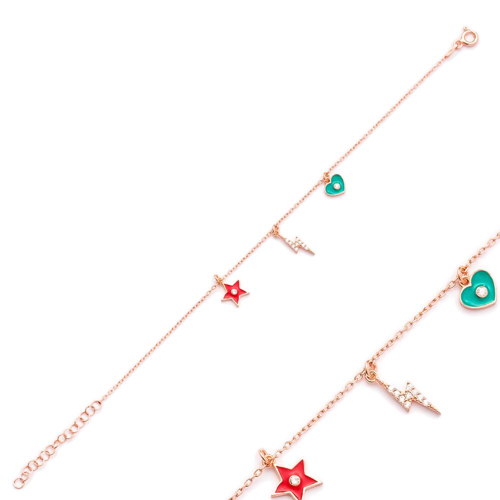 Enamel Heart Star Shaker Charm Bracelet Wholesale Turkish Sterling Silver Jewelry