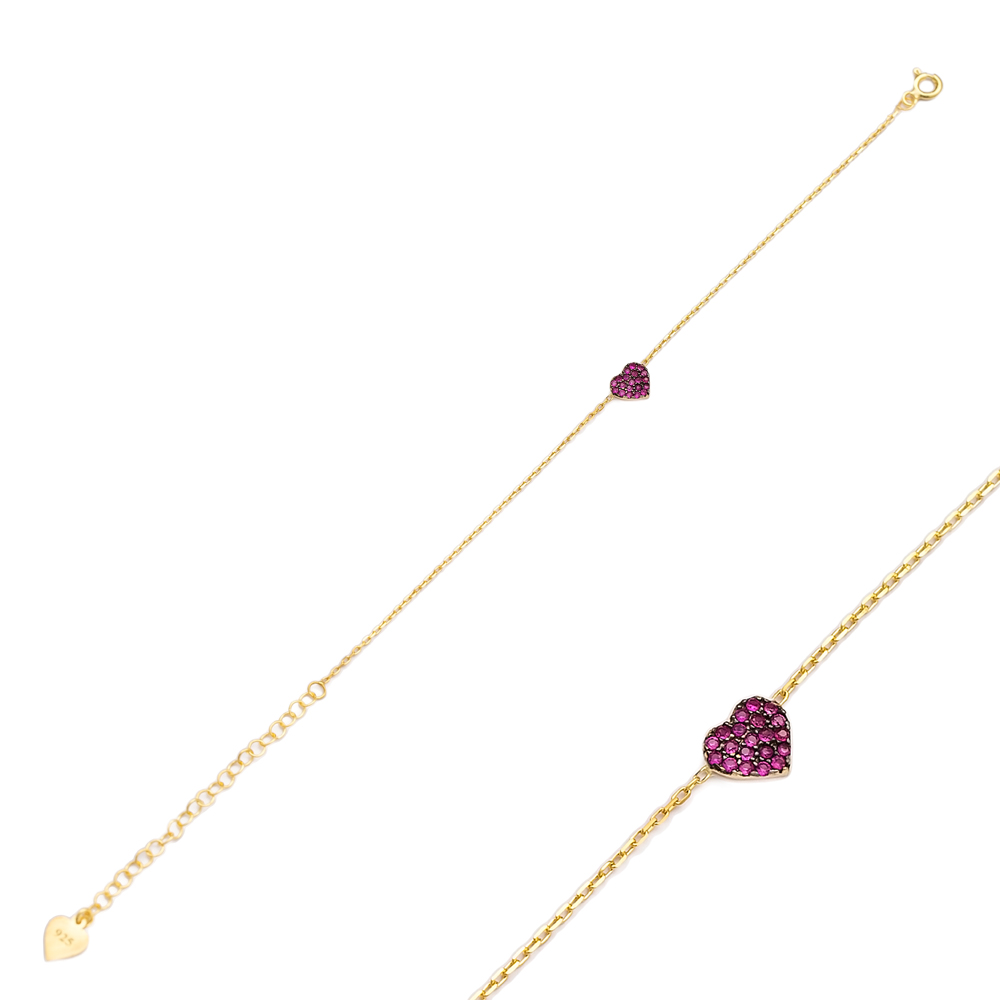 Ruby Stone Entirely Heart Bracelet Handcrafted Wholesale 925 Sterling Silver Jewelry