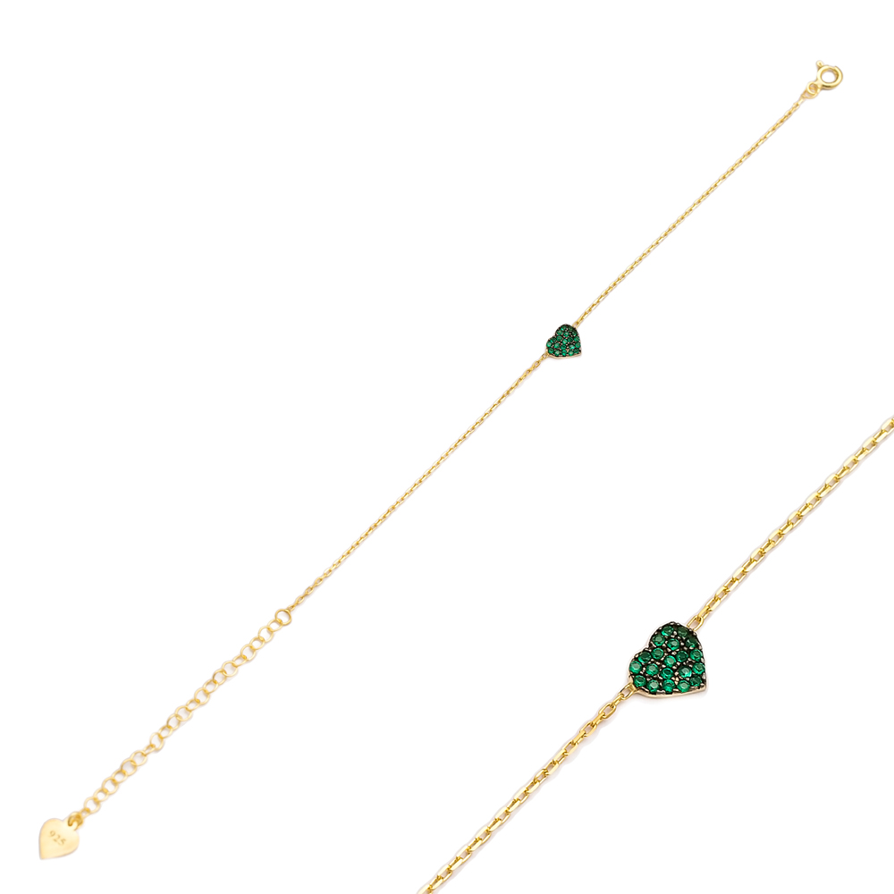Emerald Stone Entirely Heart Bracelet Handcrafted Wholesale 925 Sterling Silver Jewelry